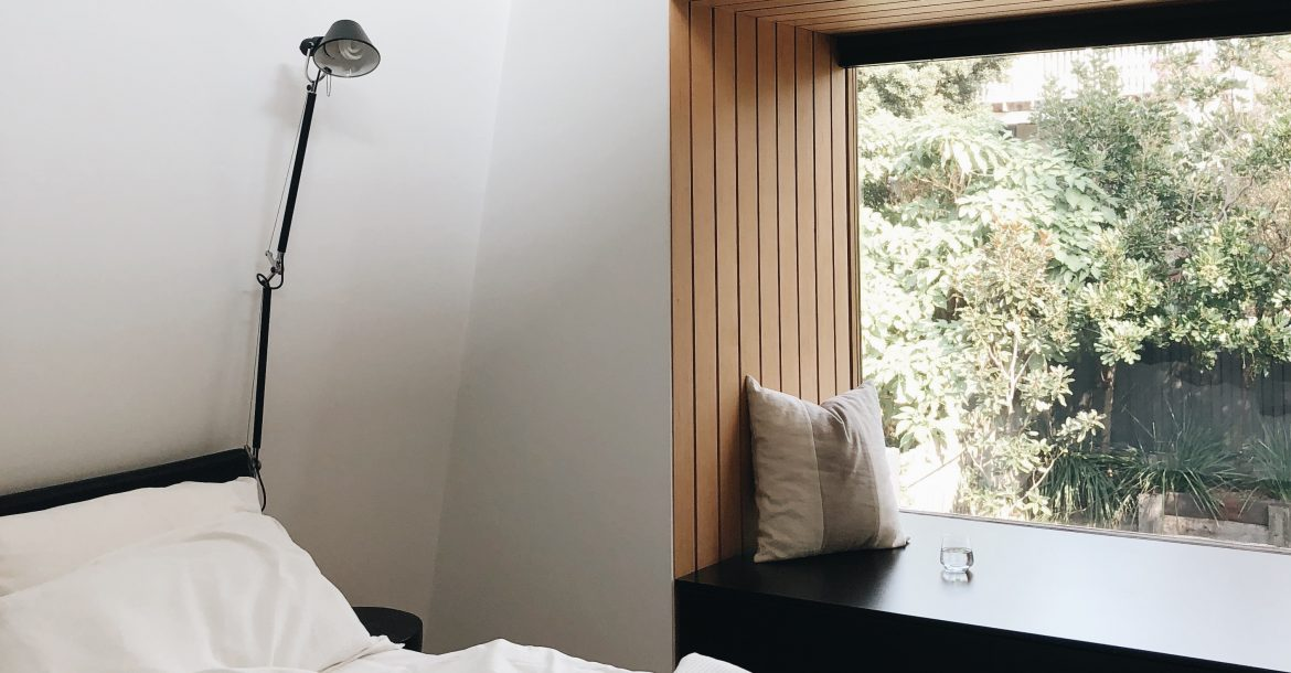 modern bedroom with bench seat
