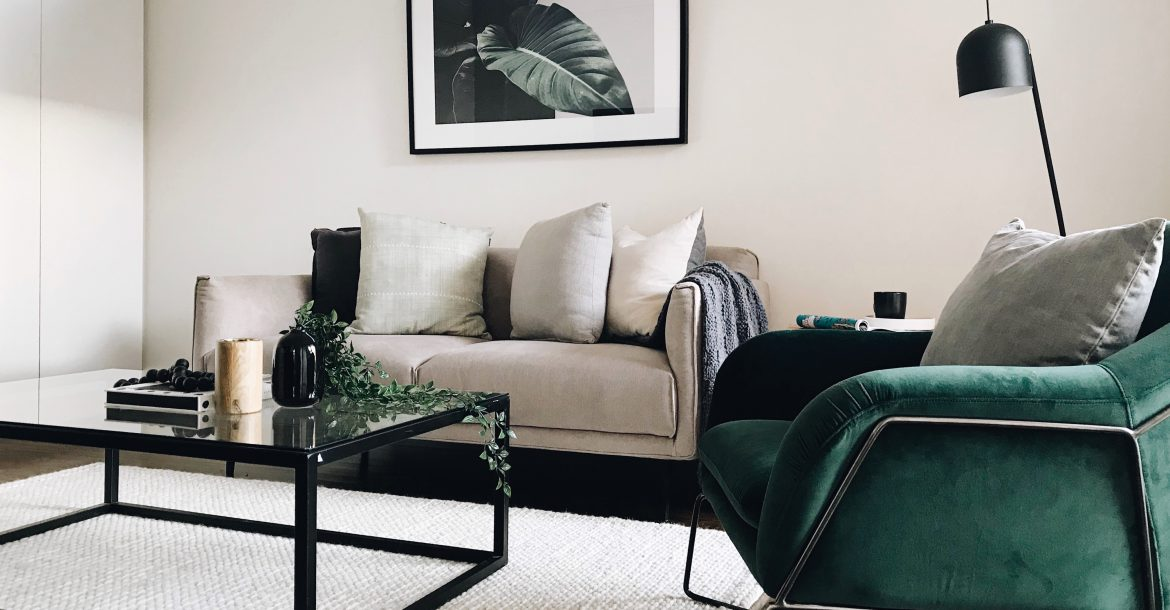 living room with green velvet accents