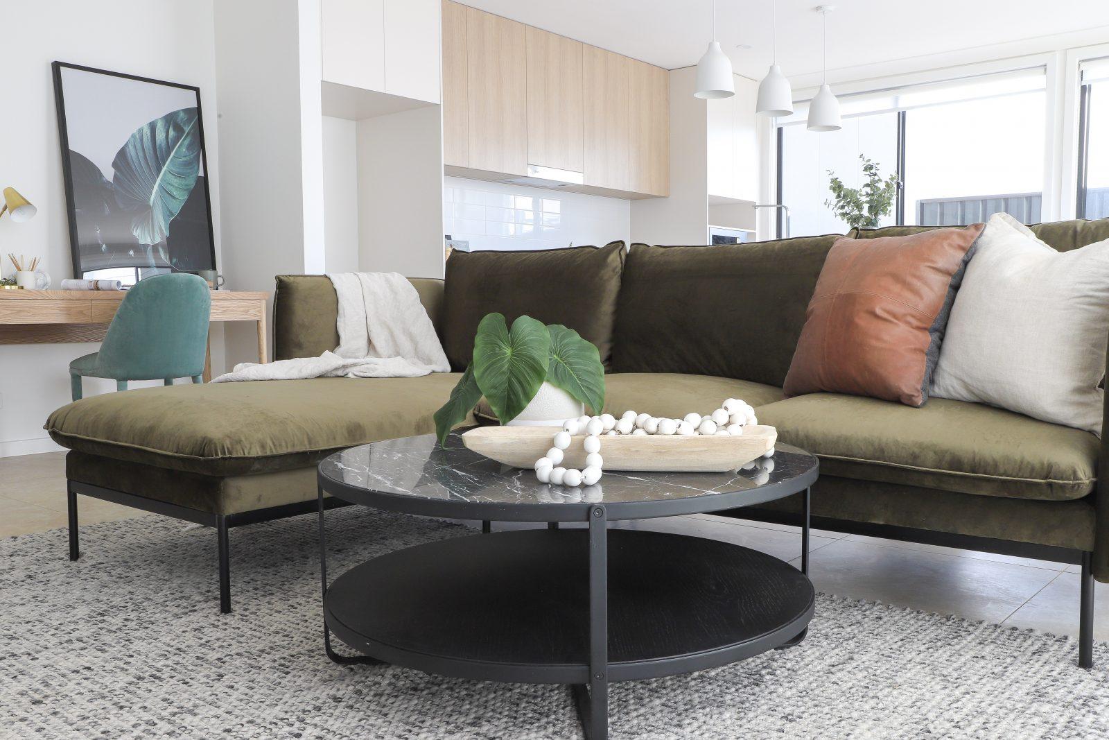 velvet green sofa