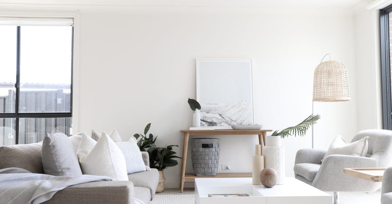 living room styled in light palette